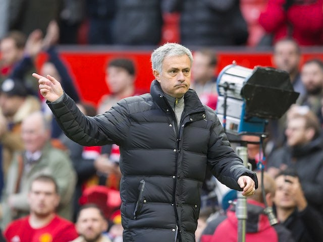 Jose Mourinho points during the FA Cup game between Manchester United and Reading on January 7, 2017