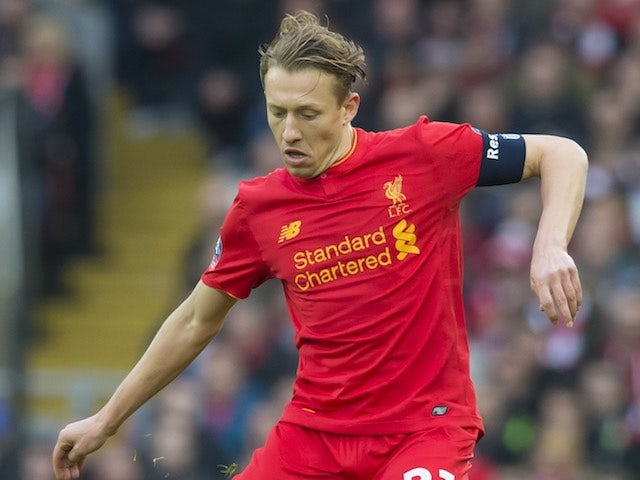 Lucas Leiva in action during the FA Cup game between Liverpool and Plymouth Argyle on January 8, 2017