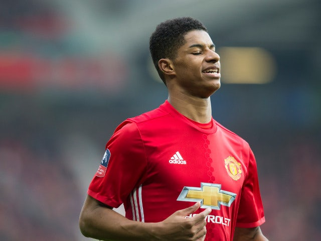Manchester United striker Marcus Rashford in action during his side's FA Cup third round clash with Reading at Old Trafford on January 7, 2017