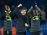 Chelsea manager Antonio Conte celebrates after his side's Premier League victory over Leicester City at the King Power Stadium on January 14, 2017