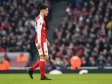 Granit Xhaka sees red during the Premier League game between Arsenal and Burnley on January 22, 2017
