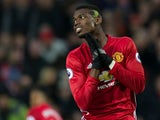 Manchester United midfielder Paul Pogba reacts after giving away a penalty during the Premier League clash with Liverpool at Old Trafford on January 15, 2017