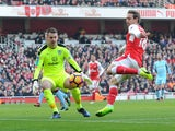Thomas Heaton saves a Nacho Monreal shot during the Premier League game between Arsenal and Burnley on January 22, 2017