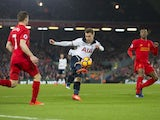 James Milner, Georginio Wijnaldum and Christian Eriksen in action during the Premier League game between Liverpool and Tottenham Hotspur on February 11, 2017