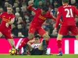 Joel Matip and Dele Alli in action during the Premier League game between Liverpool and Tottenham Hotspur on February 11, 2017