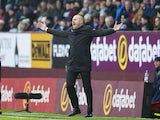 Burnley manager Sean Dyche gesticulates in the match against Chelsea on February 12, 2017