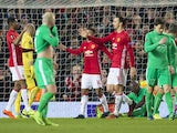 Manchester United's Zlatan Ibrahimovic celebrates scoring his second goal during the Europa League match against Saint-Etienne on February 16, 2017