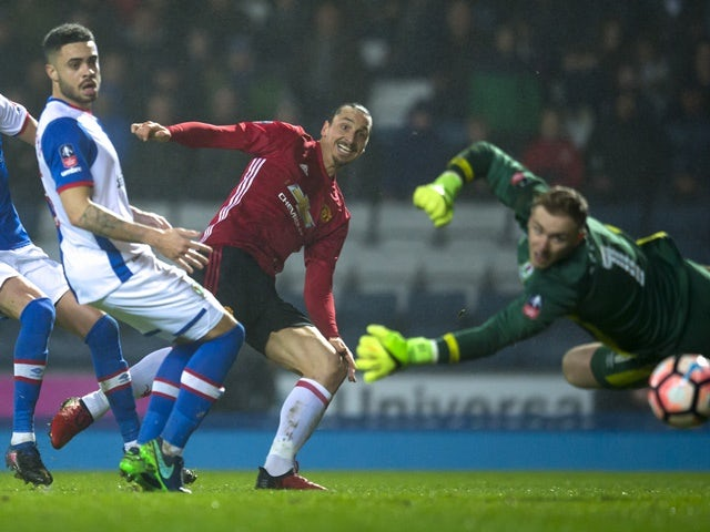 Manchester United's Zlatan Ibrahimovic scores against Blackburn Rovers on February 19, 2017