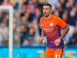 Manchester City defender Aleksandar Kolarov in action during his side's FA Cup fifth round clash with Manchester City at the John Smith's Stadium on February 18, 2017