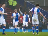 Blackburn Rovers' Danny Graham celebrates scoring against Manchester United in the FA Cup fifth round on February 19, 2017