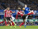 Didier Ndong and Morgan Schneiderlin in action during the Premier League game between Everton and Sunderland on February 25, 2017