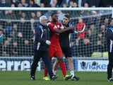 Leicester City's Molla Wague walks walks off injured against Millwall on February 18, 2017