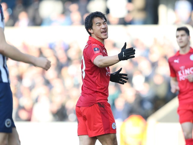 Shinji Okazaki of Leicester City reacts during the FA Cup match against Millwall on February 18, 2017