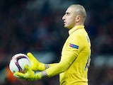 Saint-Etienne goalkeeper Stephane Ruffier in action during his side's Europa League clash with Manchester United at Old Trafford on February 16, 2017