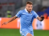 Ciro Immobile in action during the Coppa Italia game between Lazio and Roma on March 1, 2017