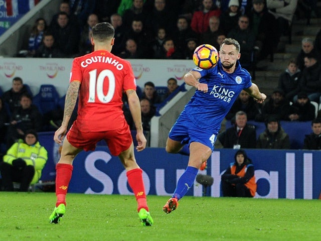 Danny Drinkwater scores Leicester City's second goal against Liverpool on February 27, 2017