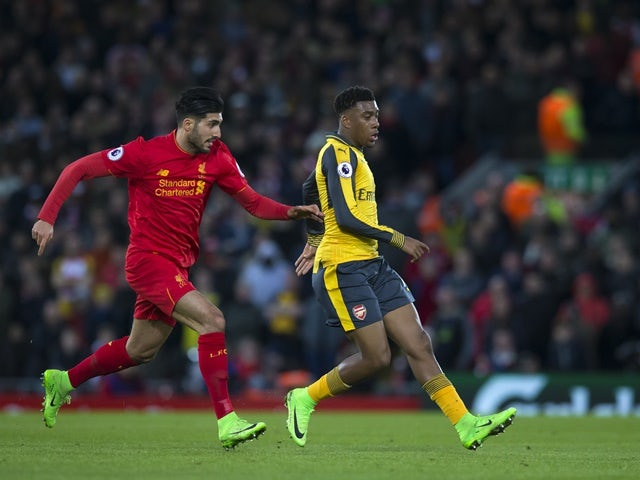 Liverpool's Emre Can and Arsenal's Alex Iwobi on March 4, 2017