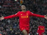 Georginio Wijnaldum celebrates scoring in the final throes of the Premier League game between Liverpool and Arsenal on March 4, 2017