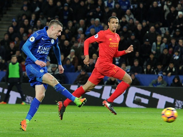Jamie Vardy scores Leicester City's first goal against Liverpool on February 27, 2017