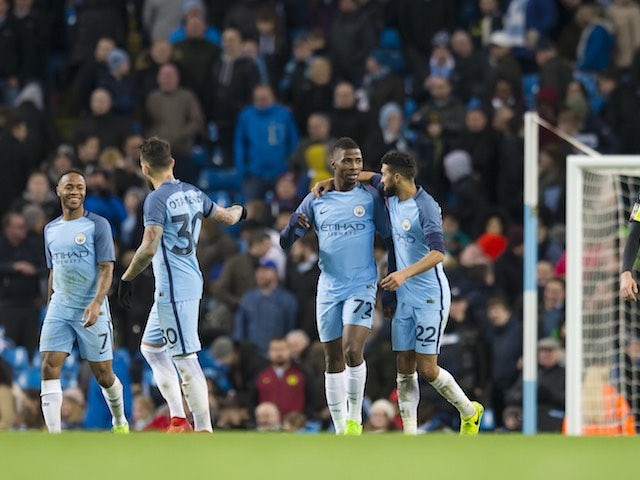 Kelechi Iheanacho celebrates scoring during the FA Cup replay between Manchester City and Huddersfield Town on March 1, 2017