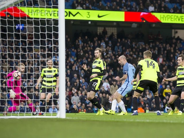 Pablo Zabaleta scores during the FA Cup replay between Manchester City and Huddersfield Town on March 1, 2017