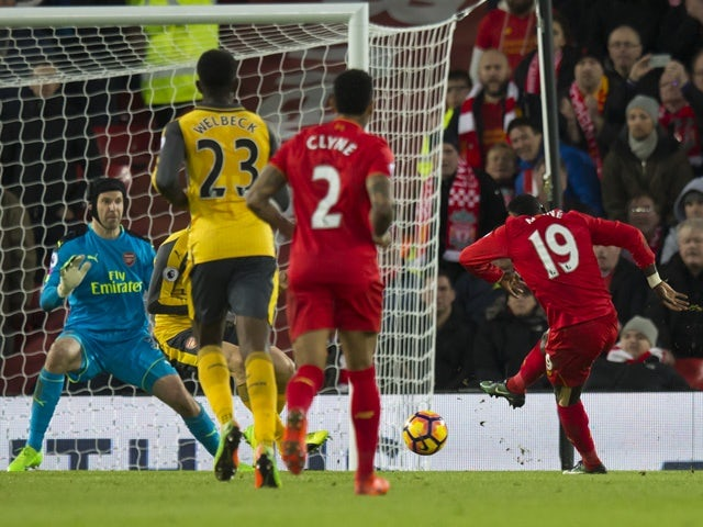 Liverpool's Sadio Mane celebrates scoring against Arsenal on March 4, 2017