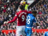 Zlatan Ibrahimovic clashes with Tyrone Mings during the Premier League game between Manchester United and Bournemouth on March 4, 2017