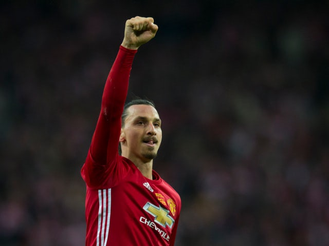 Manchester United striker Zlatan Ibrahimovic in action during the EFL Cup final against Southampton at Wembley on February 26, 2017
