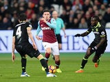 West Ham United's Aaron Cresswell in action against Chelsea on March 6, 2017