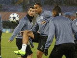Real Madrid's Cristiano Ronaldo and Danilo in training on March 6, 2017