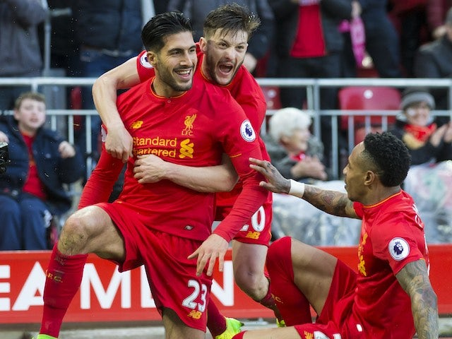 Emre Can celebrates scoring during the Premier League game between Liverpool and Burnley on March 12, 2017