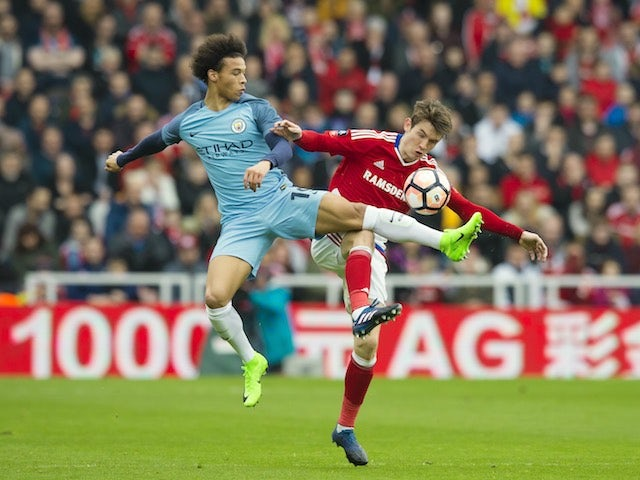 Leroy Sane and Marten de Roon in action during the FA Cup quarter-final between Middlesbrough and Manchester City on March 11, 2017
