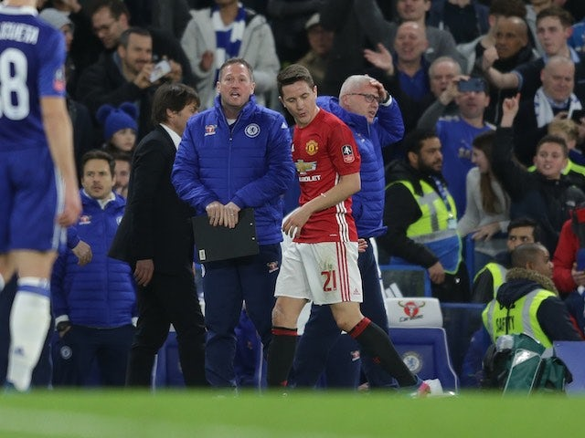 b43964cda78 Ander Herrera receives his marching orders during the FA Cup quarter-final  between Chelsea and