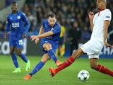 Leicester City's Danny Drinkwater takes a shot against Sevilla on March 14, 2017
