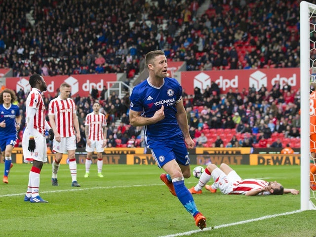 Chelsea's Gary Cahill celebrates scoring against Stoke City on March 18, 2017