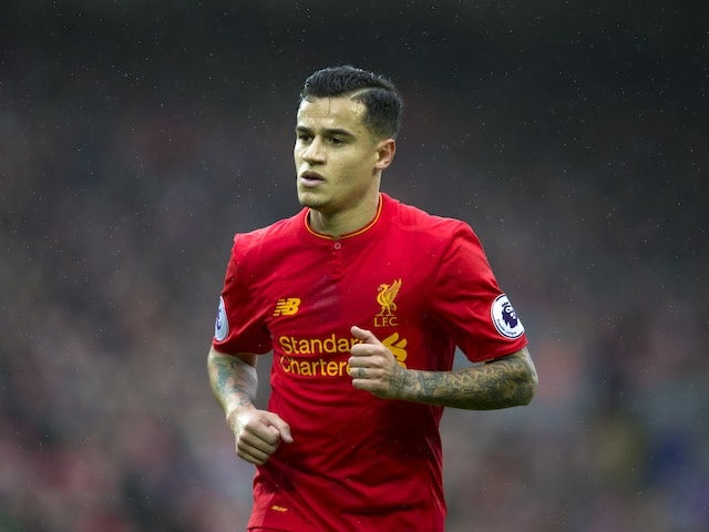 Philippe Coutinho in action during the Premier League game between Liverpool and Burnley on March 12, 2017