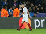 Sevilla's Samir Nasri is sent off during the Champions League match against Leicester City on March 14, 2017