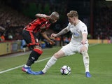 Benik Afobe and Alfie Mawson in action during the Premier League game between Bournemouth and Swansea City on March 18, 2017