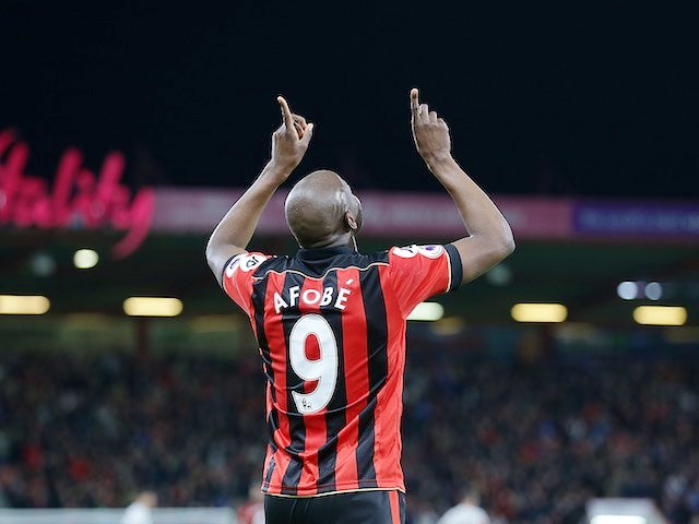 Benik Afobe celebrates scoring during the Premier League game between Bournemouth and Swansea City on March 18, 2017