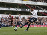 Dele Alli scores from the spot during the Premier League game between Tottenham Hotspur and Southampton on March 19, 2017
