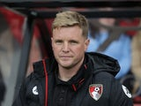 Eddie Howe watches on during the Premier League game between Bournemouth and Swansea City on March 18, 2017