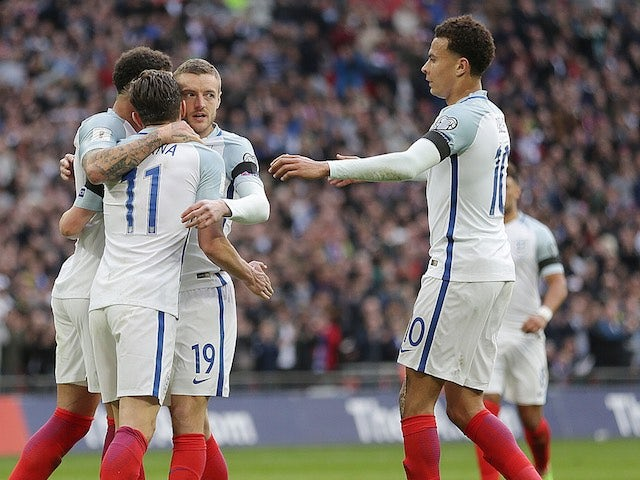Jamie Vardy celebrates scoring during the World Cup qualifier between England and Lithuania on March 26, 2017