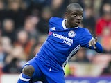 N'Golo Kante in action during the Premier League game between Stoke City and Chelsea on March 18, 2017