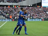 Riyad Mahrez celebrates with Danny Simpson during the Premier League game between West Ham United and Leicester City on March 18, 2017