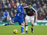Joey Barton and Diego Costa during the Premier League match between Chelsea and Burnley on February 12, 2017