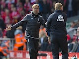 Jurgen Klopp argues with Ronald Koeman during the Premier League game between Liverpool and Everton on April 1, 2017