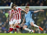 Kevin De Bruyne and Joe Allen in action on March 8, 2017