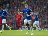 Matthew Pennington celebrates equalising during the Premier League game between Liverpool and Everton on April 1, 2017