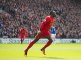 Sadio Mane celebrates scoring during the Premier League game between Liverpool and Everton on April 1, 2017