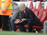 Arsenal manager Arsene Wenger reacts to Manchester City's opening goal on April 2, 2017